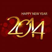 stock photo of happy new year 2014  - vector golden creative happy new year 2014 illustration - JPG