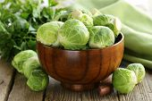 foto of brussels sprouts  - heap fresh raw organic green brussel sprouts - JPG