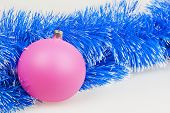 Pink Christmas Ball With Blue Garland
