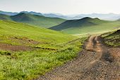 foto of mongolian  - Winding dirt road through lush - JPG