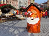 PILSEN CZECH REPUBLIC - DECEMBER 3: Wooden post box to letters for Jezisek on the Christmas market i
