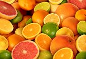 stock photo of pomelo  - Citrus fruit background with a group of cultivated and harvested oranges lemons lime pomelo tangerines and grapefruit as a symbol of healthy eating and immune system boost eating fresh juicy health fruit full of natural vitamins - JPG