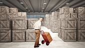 3d image of classic warehouse and delivery man
