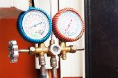 stock photo of air pressure gauge  - Two Gauge Hang on the Air Condition - JPG