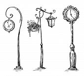 picture of lamp post  - Street clocks and a lamp post - JPG