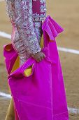 stock photo of bullfighting  - Bullfighter with the Cape before the Bullfight, Spain