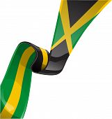 pic of reggae  - jamaica ribbon flag isolated on white background - JPG