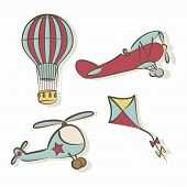 image of biplane  - Set of flying icons  - JPG