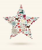 Merry Christmas Star Shape Illustration