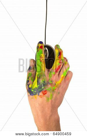 Hand Holding A Computer Mouse With Paint On It