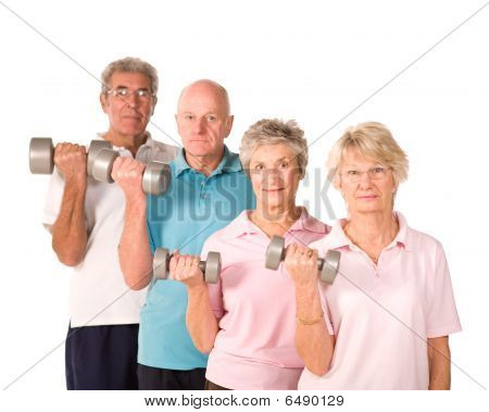 Reife ältere Menschen Aufhebung Gewichte