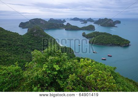Landscape bird eye view of angthong national marine park ko samui thailand