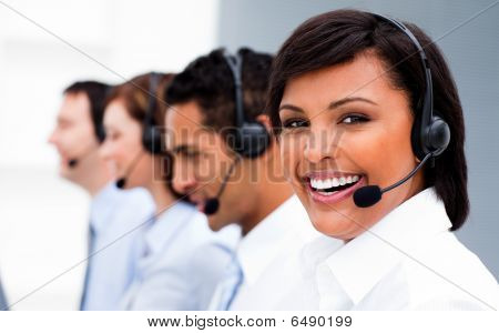 Attractive Young Woman Working In A Call Center