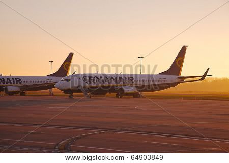 CHARLEROI, BELGIUM - FEBRUARY 2: Airliners of Ryanair parked at Brussels - Charleroi airport, Feb 2th 2014. Ryanair is the largest low-cost carrier in Europe.