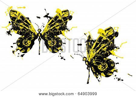 Yellow Black Paint Made Butterfly Set