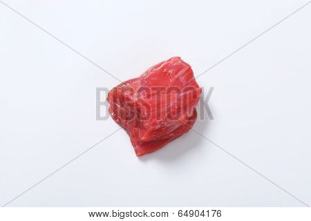 small beef cube isolated