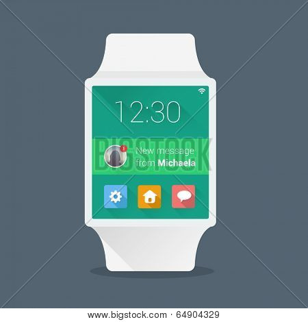 Smart watch concept with simple user interface made in flat color design
