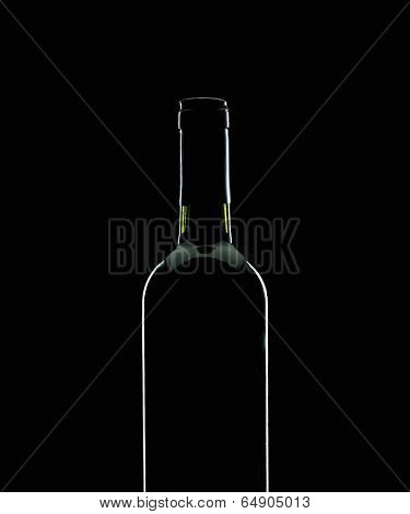 Wine bottle silhouette over black background
