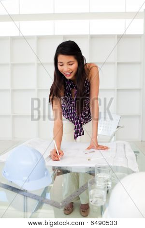 Portrait Of A Female Architect Studying Plans