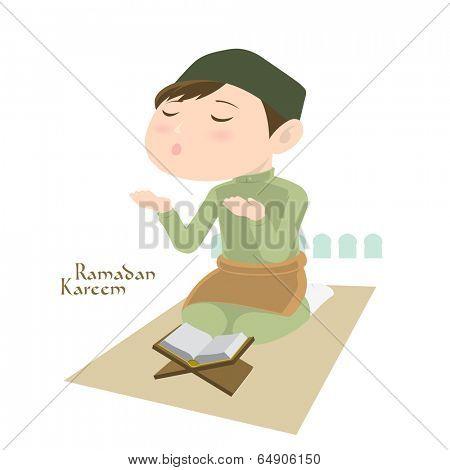 Vector Muslim Praying. Translation: Ramadan Kareem - May Generosity Bless You During The Holy Month.