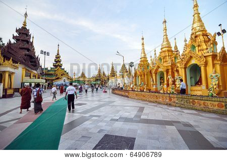 Rangoon, Myanmar - 11 October 2013 : Shwedagon Pagoda In Rangoon