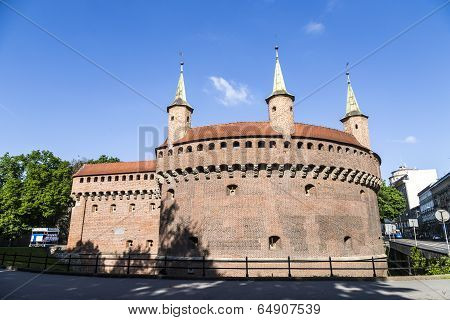 KRAKOW, POLAND - OCT 3, 2014: Krakow landmark - Barbican. The fortress formerly connected to city walls poland