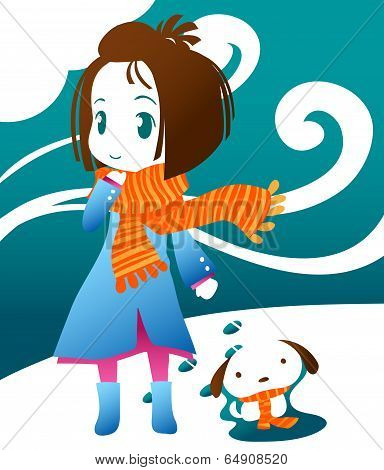 Winter illustration of a girl and her dog.