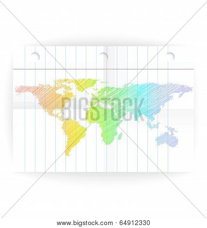 Vector Notepad Ruled Blank Page With Folds And Map