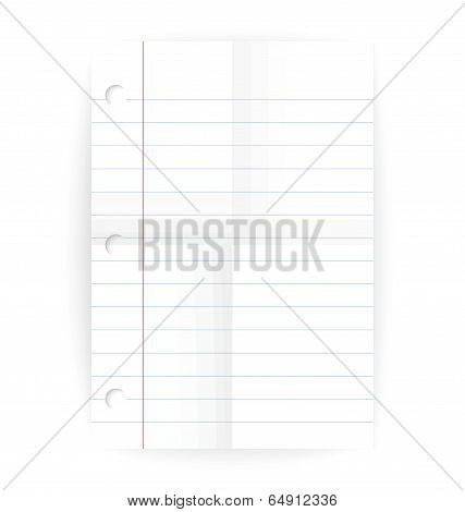Vector Notepad Ruled Blank Page With Folds