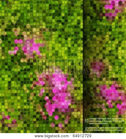 Blurred Garden Flowers Square Mosaic  Template