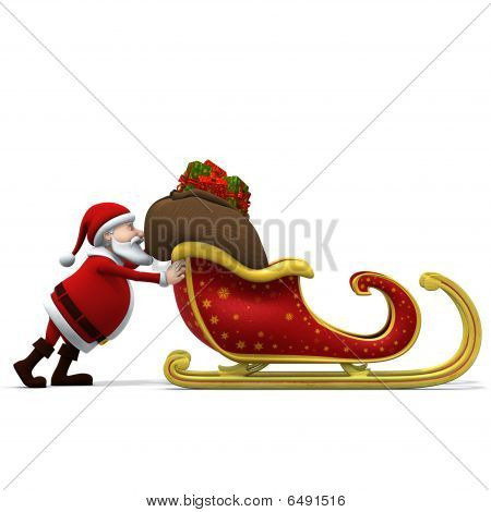 Santa Pushing Sleigh