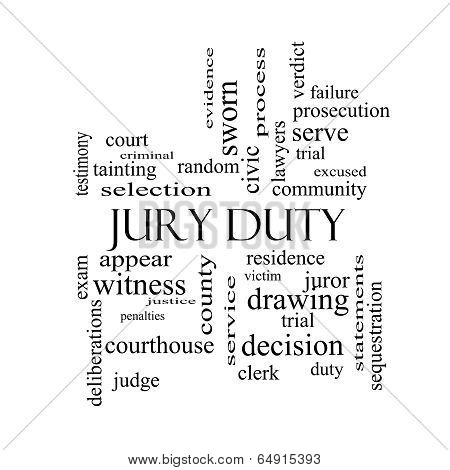 Jury Duty Word Cloud Concept In Black And White