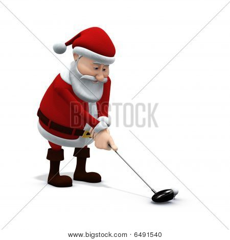 Santa Plays Golf