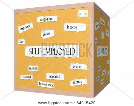 Self-employed 3D Cube Corkboard Word Concept
