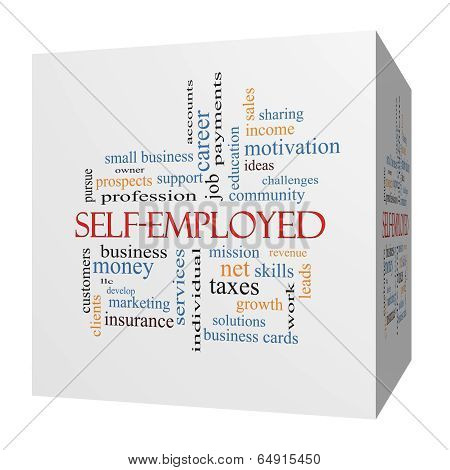 Self-employed 3D Cube Word Cloud Concept