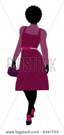 African American Shopping Illustration Silhouette