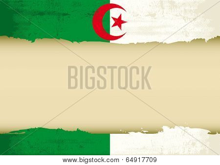 An Algerian flag with a large frame for your message. Ideal to use for a screen