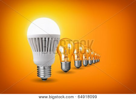 Led Bulb And Tungsten Bulbs