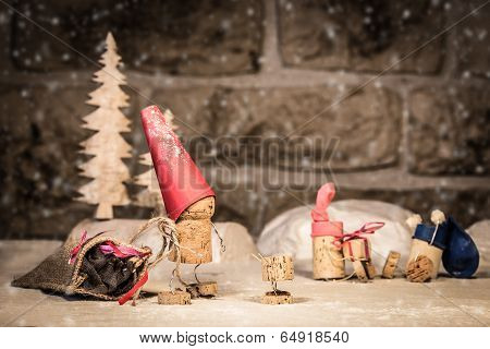 Wine Cork Figures, Concept Santa And Children In The Snow
