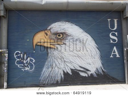 Bold eagle mural in Williamsburg section in Brooklyn