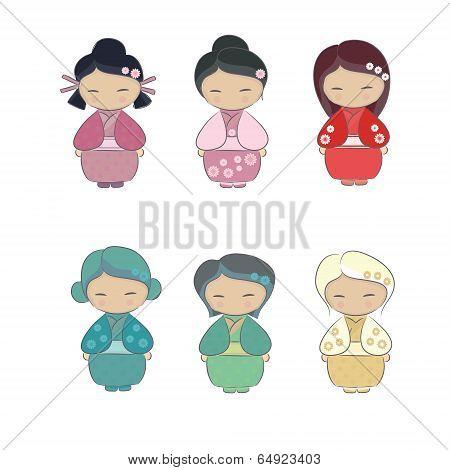 Set Of Japanese Girl In Kimono