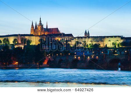 Prague hrad and Charles Bridge over the river