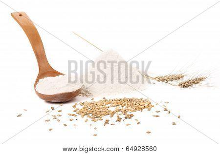 Flour wheat ear and wood spoon.