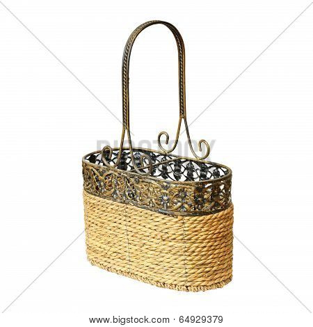 Wattle And Metal Container