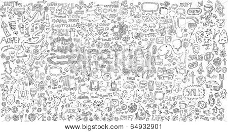 Mega Doodle Design Elements Vector Set poster