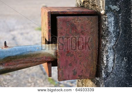 Close Up Old Boundary Gate Lock For Security