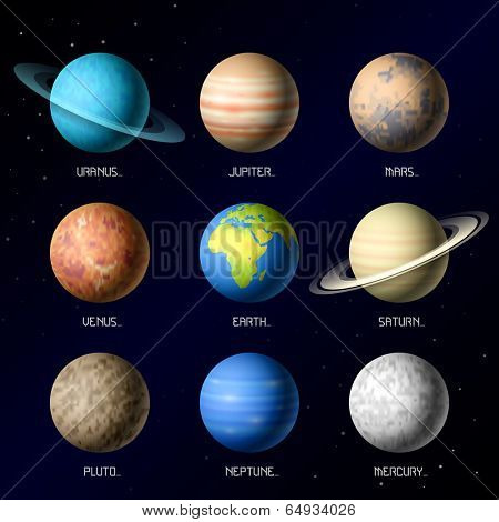 Planets of Solar System. Vector.