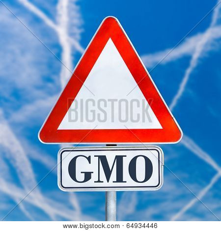 Gmo Traffic Warning Sign On A Blue Sky