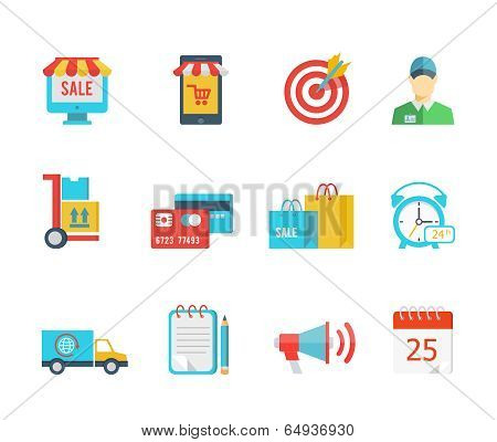 Set of flat vector purchase and delivery icons