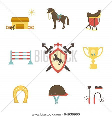 Horse and equestrian icons in flat style